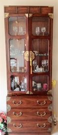 1 of 2 Henredon Lighted Curio/China Cabinets.  The top is separate from the 3-Drawer Base