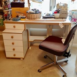 Newer Sewing Table w/ Roll Out Drawers, Bernette Serger, Chair,