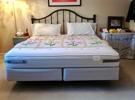 King Sealy Posturepedic FIRM Mattress set in excellent condition.  And King Headboard and Bed Frame