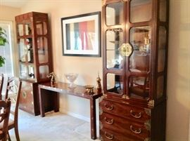 All 3 pieces are Henredon 2 Lighted Curio's and a sofa table.  All in excellent condition.
