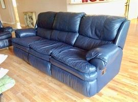 Lane Navy Leather Reclining Sofa