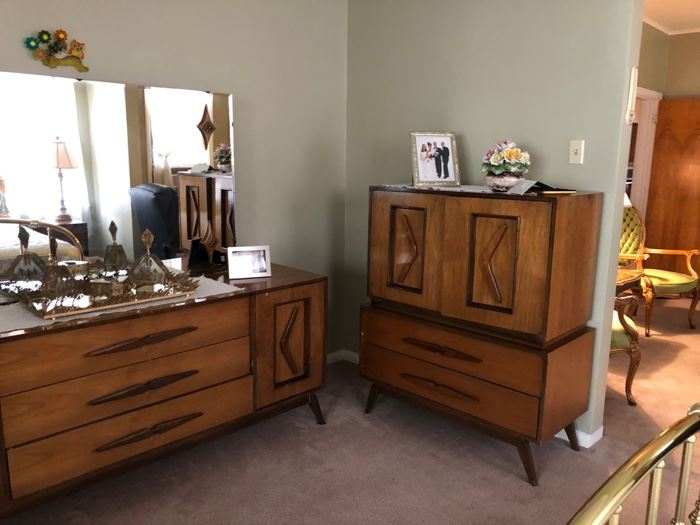 mid-century bedroom set triple dresser armoire and two night tables