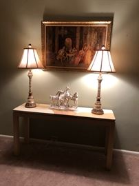 sofa table and art