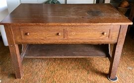 Antique oak Ta-Bed circa 1920's. Novelty, space saving table that converts to a twin bed. Looks like a library table when closed.
