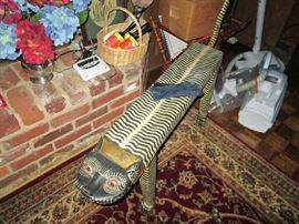 Carved leopard/zebra stool