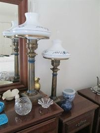 Pr. of tall brass lamps w/ hurricane shades