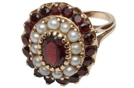 8. 14k Garnet and Pearl Cocktail Ring