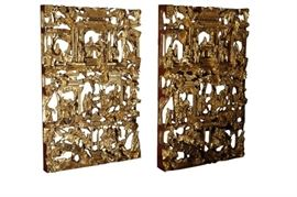 6. Pair Chinese Chaozhou Gilt Wood Carved Panels