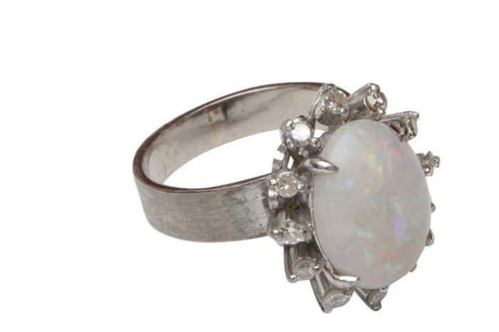74. 10K White Gold and Opal Cocktail Ring