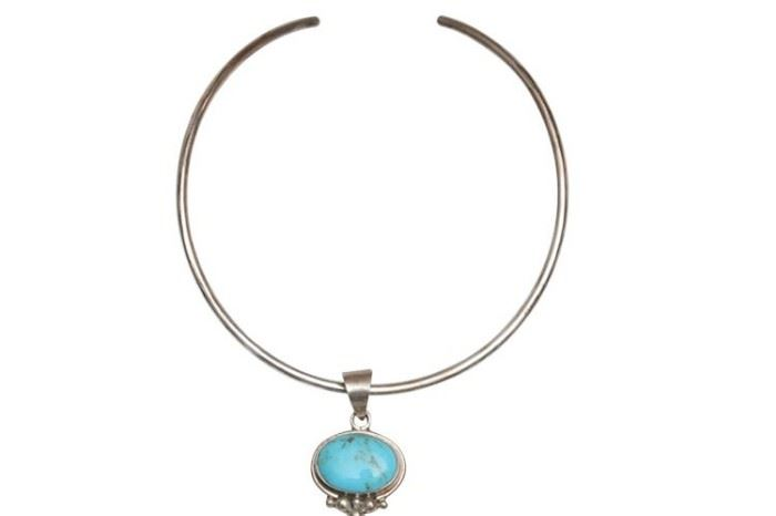 77. Mexican Turquoise Sterling Silver Choker