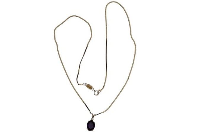 78. Amethyst, Diamond and Gold Pendant Necklace