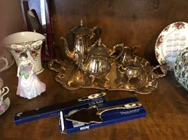 Plated service tray set still available, other items sold