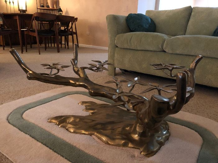 Mid Century Modern Brass/Bronze And Glass Bonsai Tree Coffee Table attributed to Willy Daro with glass top