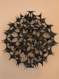 Mid Century Abstract Metal Wall Sculpture attributed to Marc Weinstein