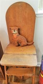 Handmade Tige Stuffed Dog and Primitive Chair