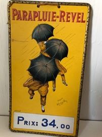 '20'S OLD FRENCH PARAPLUIE-REVEL UMBRELLA TIN SIGN