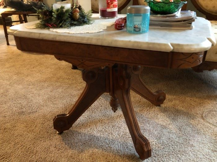 victorian marble top table with wheels
