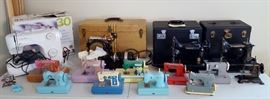 Rare Sewhandy Portable, Singer Featherweight 221K, Gibbs Automatic, Singer treadle sewing machine, Singer 30 sewing machine, Singer The Little Touch & Sew battery operated machine, vintage children sewing machines including Miss Durham, Childs Metal Toy Little Red Riding Hood Germany, Little Beauty child's sewing machine made in Germany, Cabbage Patch and KAY EE SEW MASTER.