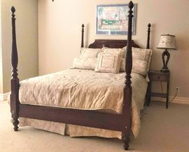 """Mahogany Queen Size Poster Bed, Turned & Rope Carved Posts & Finials, Shaped Panel Headboard, 66""""W x 89""""L"""