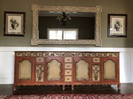 """Fr. Prov, Style Custom Made Freestanding Cabinet/Counter, Paned Doors w/ Arch Molding, Floral Carving, Polychrome, Cabriole Legs, 34""""H x 8'W x 21""""D"""