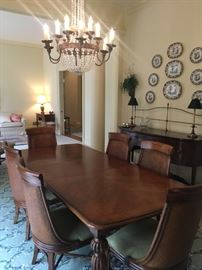 DREXEL DINING ROOM TABLE AND CHAIRS.  TABLE HAS TWO LEAVES.