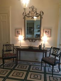 MAITLAND-SMITH CONSOLE, MATCHING PAIR OF KITTINGER CHAIRS, LARGE AND IMPRESSIVE MIRROR PLUS CUSTOM MADE ENTRY RUG