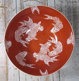 Vintage Japanese Porcelain Console Koi Bowl, Painted in Hong Kong