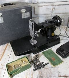 Antique Featherweight Sewing Machine with Case, Foot pedal and shown Attachments