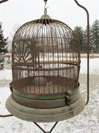 Antique Owl Detail Art Deco Metal Bird Cage with Stand