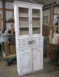 Antique 2 pc Victorian Era multi drawer Apothecary Cabinet