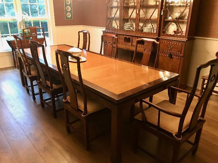 Asian Style Dining Table with 8 Chairs