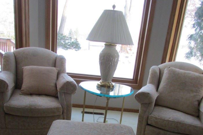 Baker Chairs & ottoman (really comfortable)