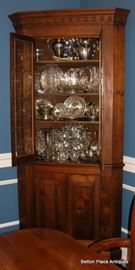 Fabulous Antique Corner Cabinet old Walnut measuring 20 inches deep, 48 inches wide, 88 inches tall.