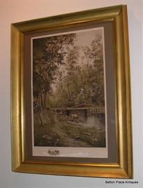 C A Walker Twilight in the Woods... 1888  Lithograph P Dudensing NY signed.