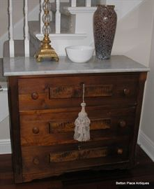 Antique Walnut and Marble top Chest