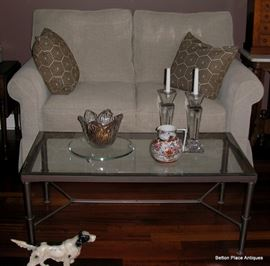 Contemporary Loveseat, Metal and Glass Coffee Table, the bowl is a Waterford Crystal Bowl, Asian Kutani  Pitcher, Pair of Towle Candlesticks.