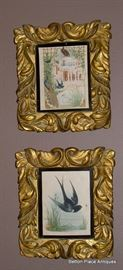 Two Gilt Framed Bird Prints from an 1854 Birds of the bible Book.