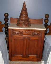 Small Antique Washstand in Walnut with Marble top
