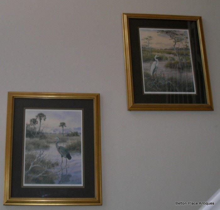 Phil Capen Egrets Prints signed 1991 and 1993