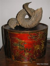 Antique Box with Ram Horns