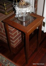 Small glass top Contemporary End Table, one of a set of three stackers