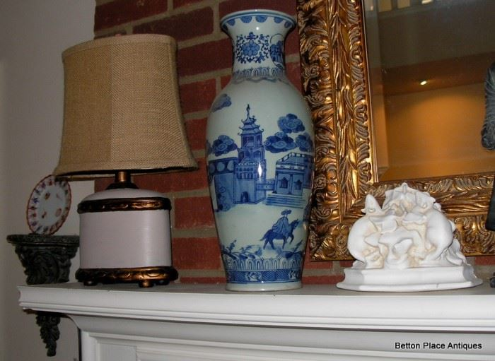 Pair of Tall Asian Vases, also Pair of Lamps