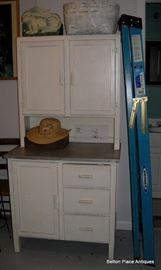 Antique Hoosier style Cabinet with stainless pullout workspace