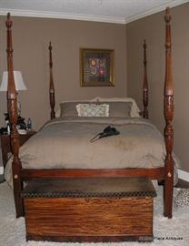 Stunning Henkel Harris Pineapple Four Poster Walnut Bed Queen Size, with Lane Cedar Chest at the foot.