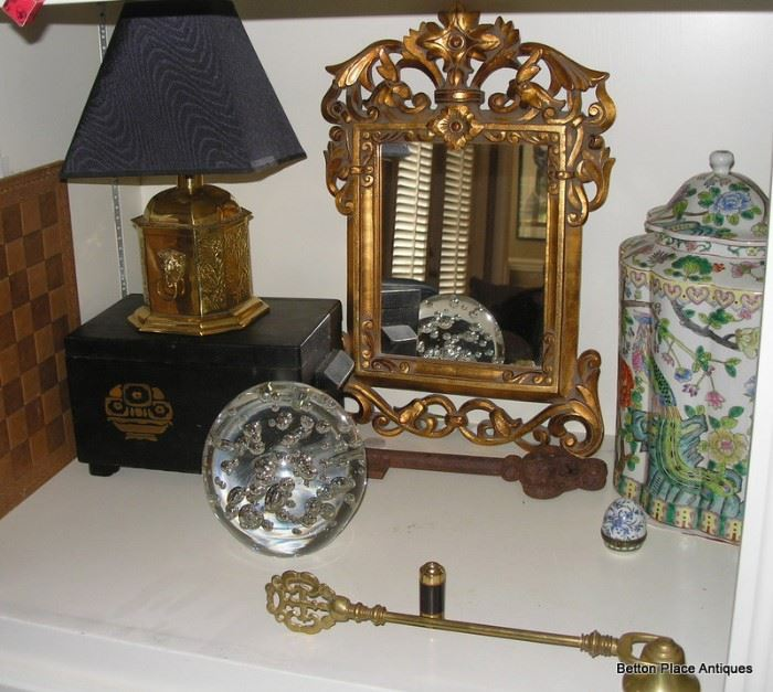 Gilt Mirror, Antique box, Glass paperweight, Asian lidded jar, brass Candle snuffer and more