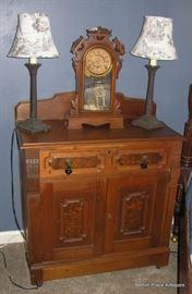 Antique Renaissance Walnut Wash Stand , Ansonia Clock with key working.