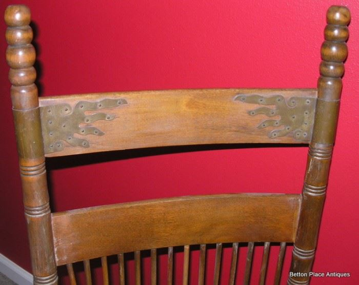 Note the brass holders at the top of the Back of Rocker, much nicer in person.