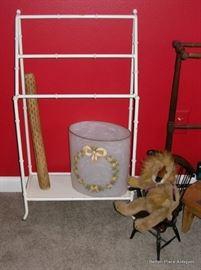 Pair of Metal bathroom racks, rain stick, small teddy chair and more