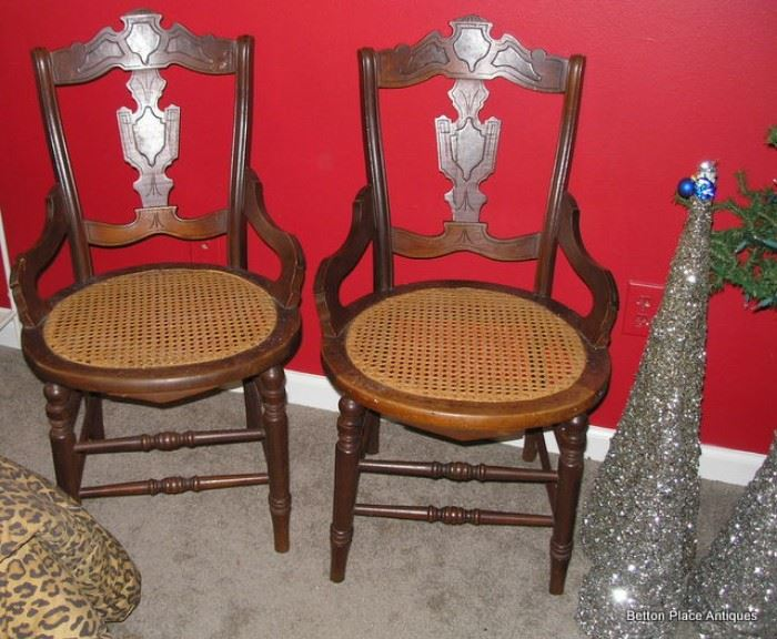 Two Antique Cane Seat Chairs
