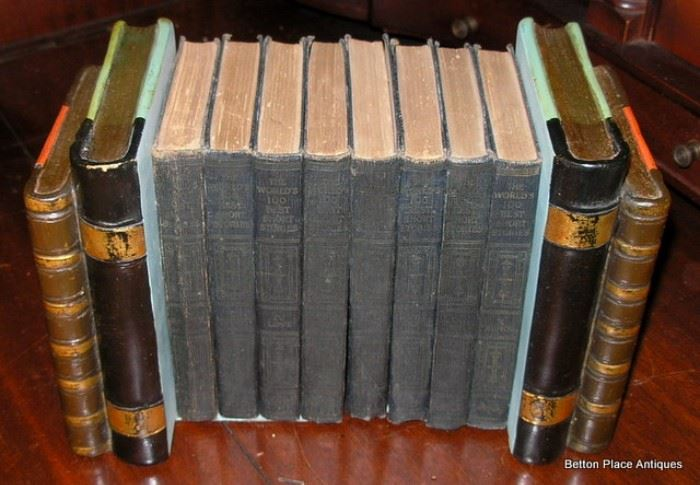 Antique books and Pair of Bookends